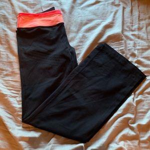 Neon pink and orange banded Yoga pants